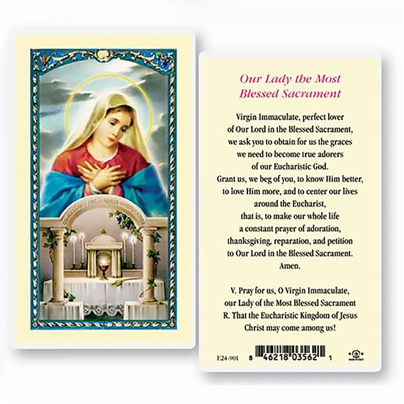 O.L. OF THE BLESSED SACRAMENT LAMINATED HOLY CARDS