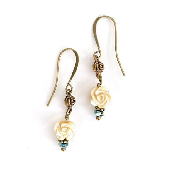 OUR LADY OF THE ANGELS ROSE CARVED PEARL EARRINGS