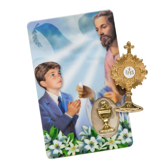 FIRST COMMUNION MONSTRANCE PIN AND CARD-BOY