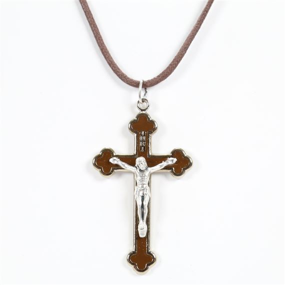BROWN ENAMEL THREE LOBED CRUCIFIX