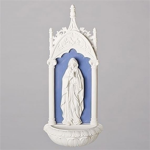 OUR LADY OF LOURDES GOTHIC STYLE HOLY WATER FONT