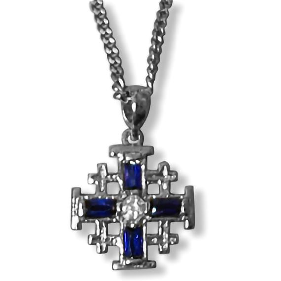 JERUSALEM CROSS WITH BLUE RHINESTONES