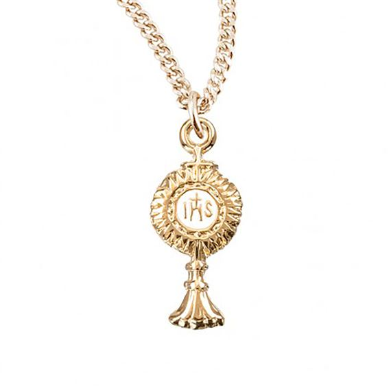 SMALL GOLD MONSTRANCE PENDANT NECKLACE