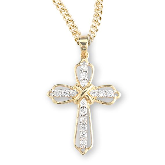 "Gold Over Sterling Crystal Cubic Zirconia Cross with 18"" Chain"