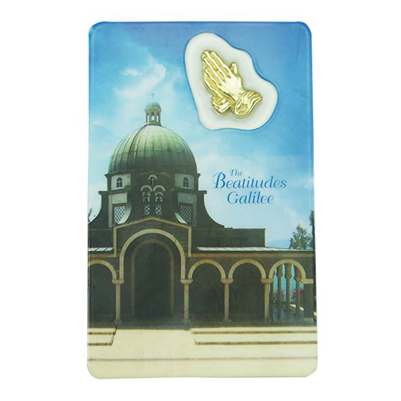 THE BEATITUDES HOLY CARD WITH MEDAL