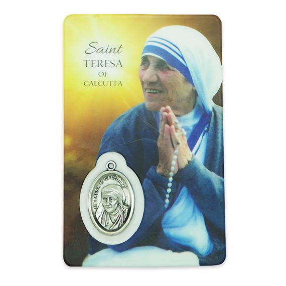 ST. TERESA OF CALCUTTA HOLY CARD WITH MEDAL