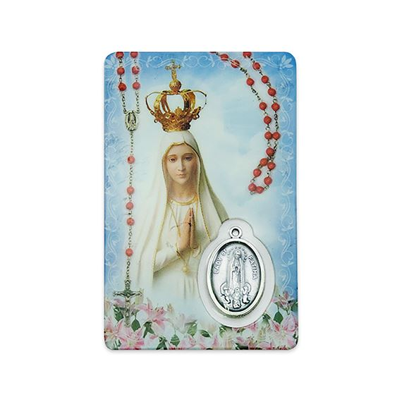 MYSTERIES OF THE ROSARY HOLY CARD WITH MEDAL