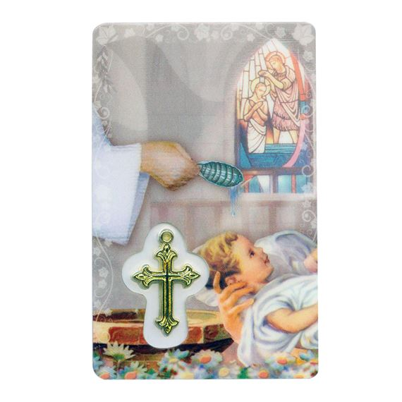 BAPTISMAL HOLY CARD WITH MEDAL
