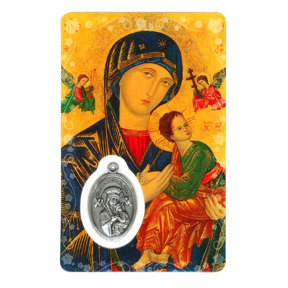 OUR LADY OF PERPETUAL HELP HOLY CARD WITH MEDAL