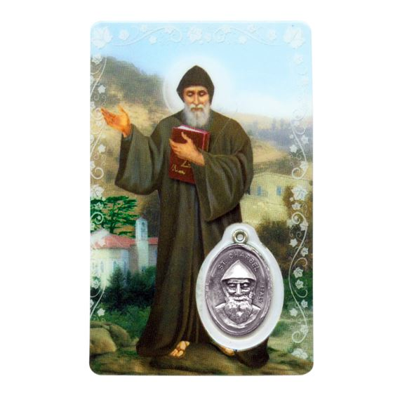 ST. CHARBEL HOLY CARD WITH MEDAL