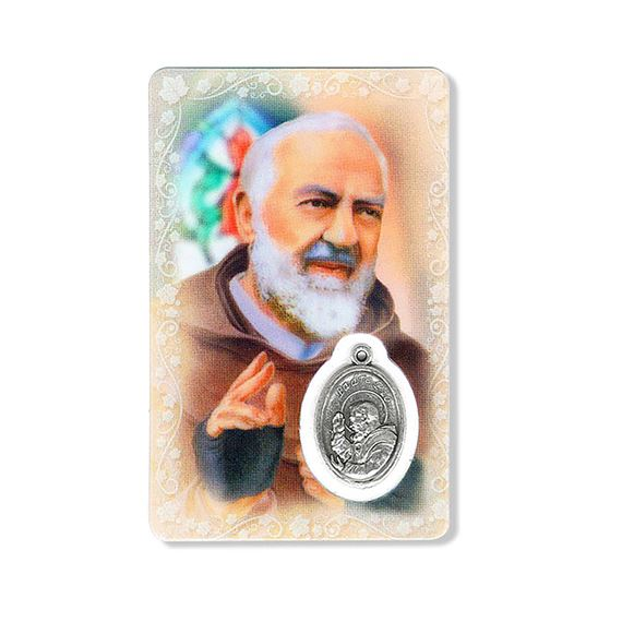 ST. PIO HOLY CARD WITH MEDAL