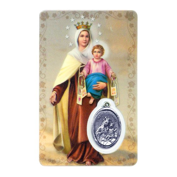 OUR LADY OF MT. CARMEL HOLY CARD WITH MEDAL
