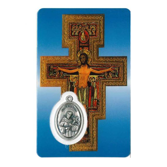 SAN DAMIANO HOLY CARD WITH MEDAL