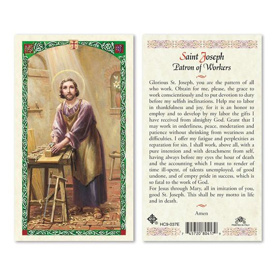 LAMINATED HOLY CARD - ST. JOSEPH THE WORKER