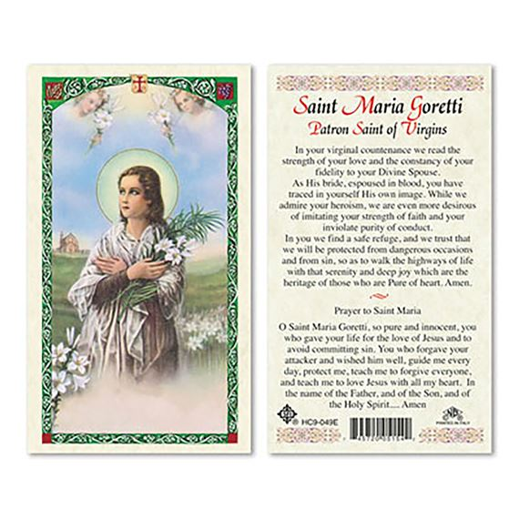 LAMINATED HOLY CARD - SAINT MARIA GORETTI