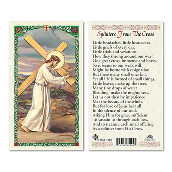 LAMINATED HOLY CARD - SPLINTERS FROM THE CROSS