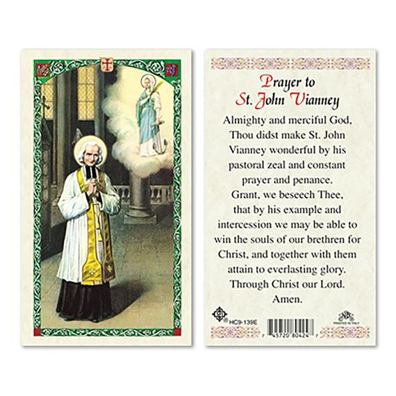 LAMINATED HOLY CARD - ST. JOHN VIANNEY