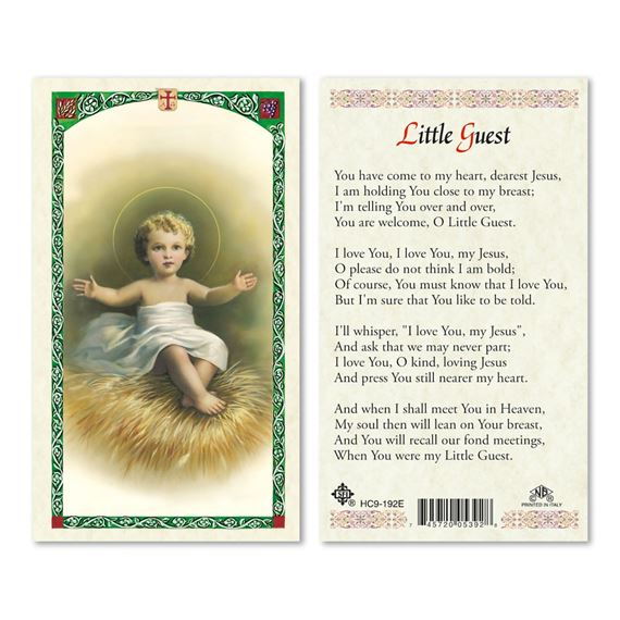 LAMINATED HOLY CARD - LITTLE GUEST
