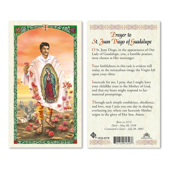 LAMINATED HOLY CARD - ST. JUAN DIEGO
