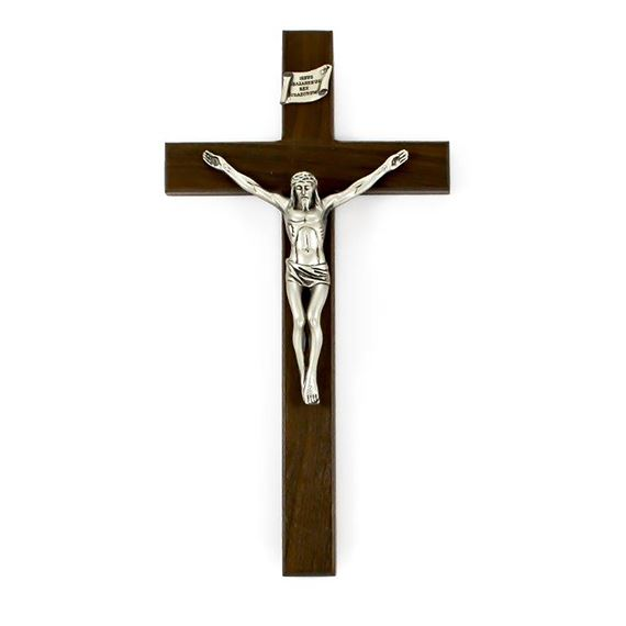 WALNUT SHROUD OF TURIN CRUCIFIX (10-INCH)