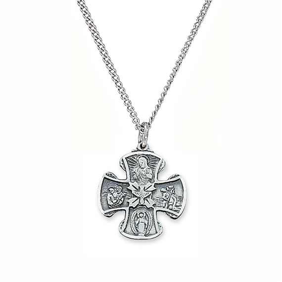 STERLING SILVER 4-WAY CRUCIFIX MEDAL