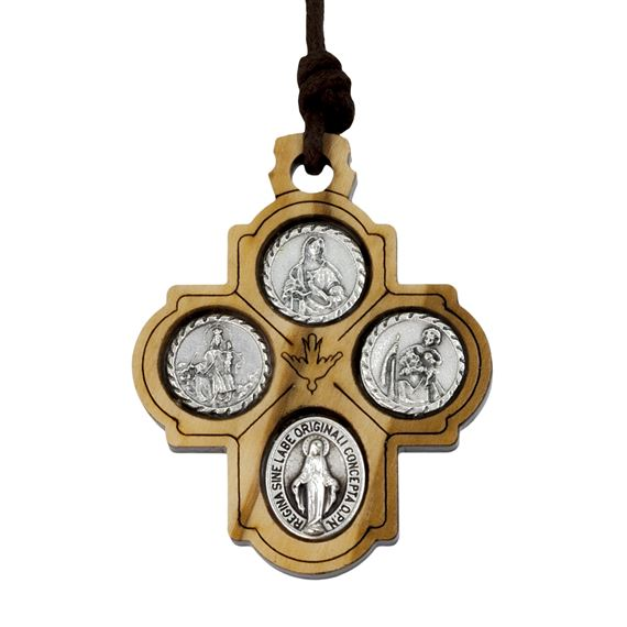 OLIVE WOOD CROSS WITH MEDALS NECKLACE