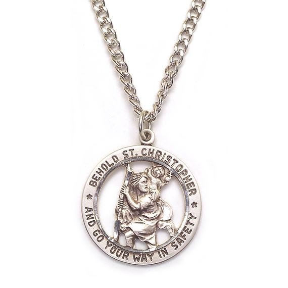 "ST. CHRISTOPHER CUT-OUT MEDAL - 24"" CHAIN"