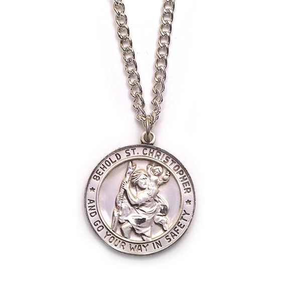 "ST. CHRISTOPHER STERLING MEDAL - 24"" CHAIN"