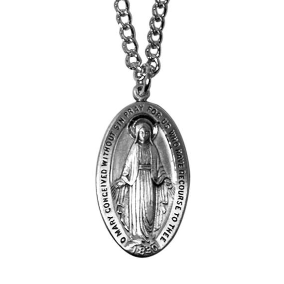 "STERLING MIRACULOUS MEDAL ON 24"" RHODIUM CHAIN"