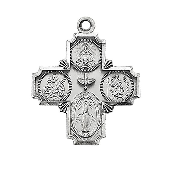 STERLING SILVER 4-WAY CROSS MEDAL