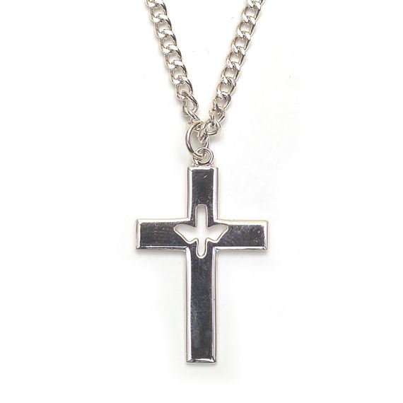 "SILVER CROSS WITH DOVE - 24"" CHAIN"
