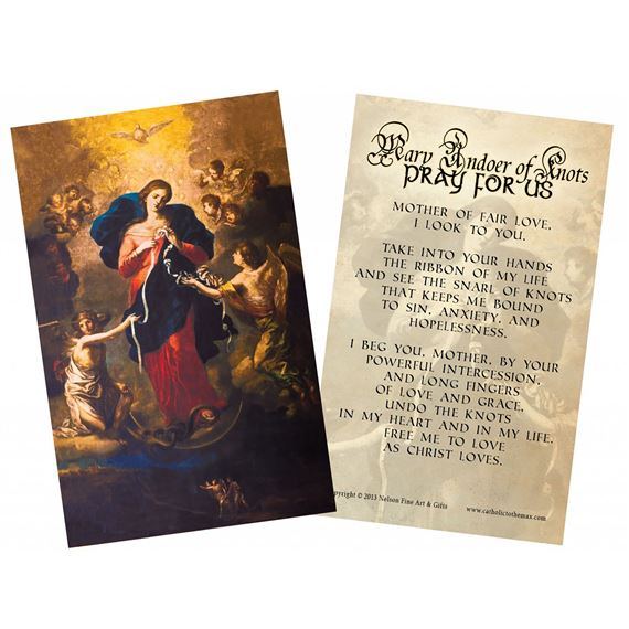 LAMINATED HOLY CARD MARY UNDOER OF KNOTS