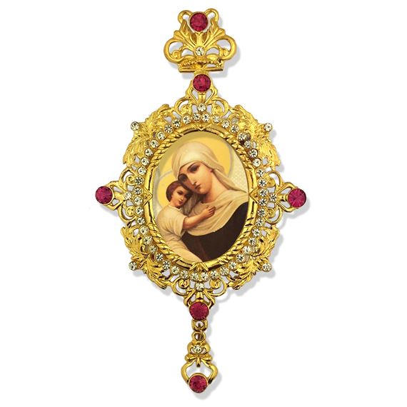 MADONNA AND CHILD ICON JEWELED ORNAMENT