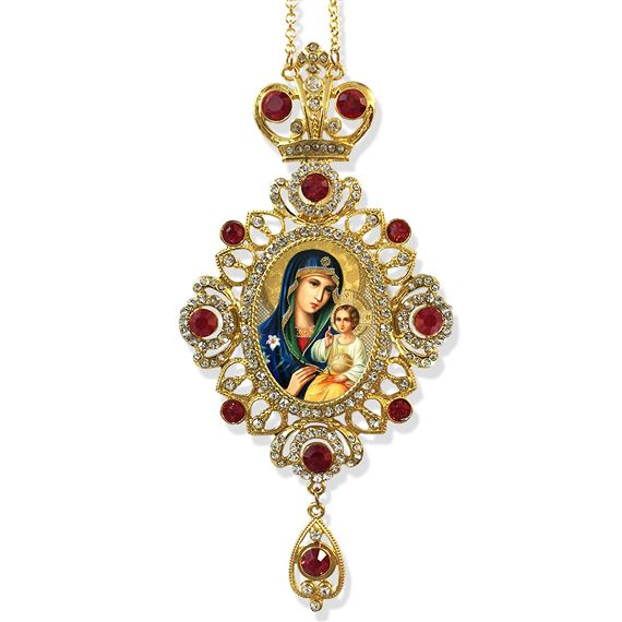 VIRGIN OF THE ETERNAL BLOOM JEWELED ICON ORNAMENT