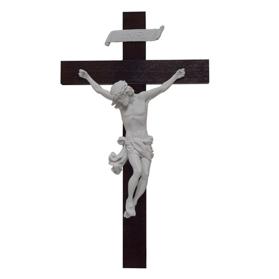 ALABASTER AND WALNUT CRUCIFIX