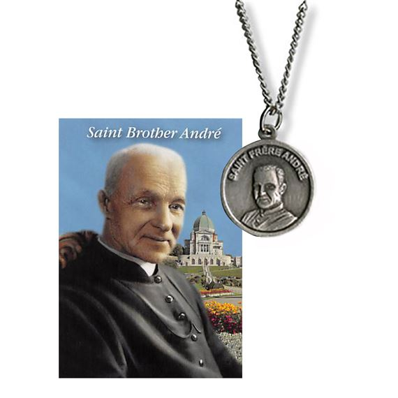 BROTHER ANDRE / ST. JOSEPH DUAL MEDAL WITH CARD