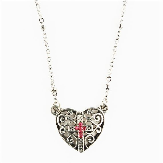 HEART NECKLACE WITH TINY CRYSTAL CROSS