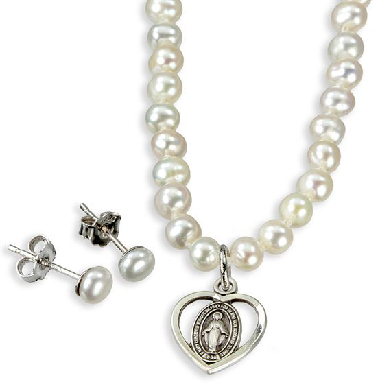 "16"" Sterling and Pearl Miraculous Necklace and Earring Set"
