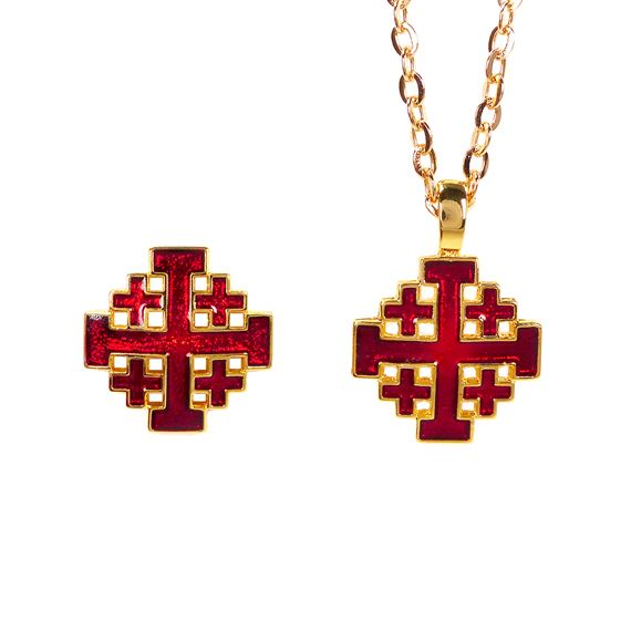 JERUSALEM CROSS PIN AND PENDANT SET