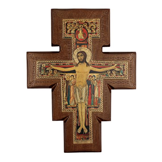 SAN DAMIANO CRUCIFIX ON WALNUT - SMALL