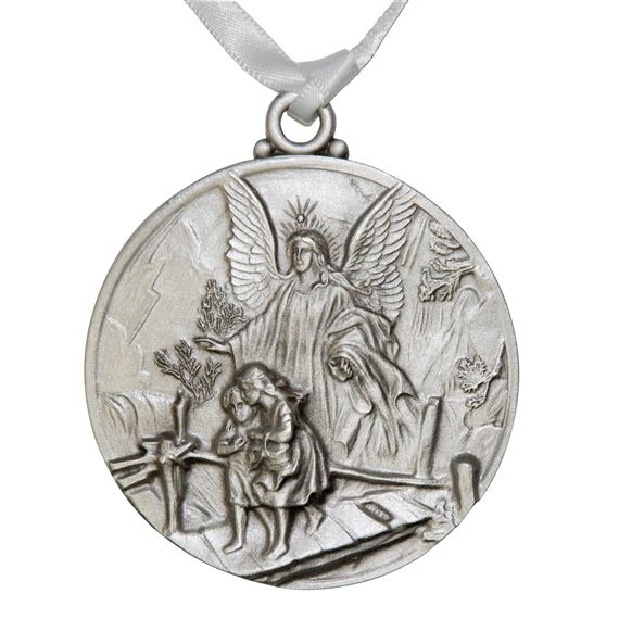 GUARDIAN ANGEL CRIB MEDAL - WHITE RIBBON