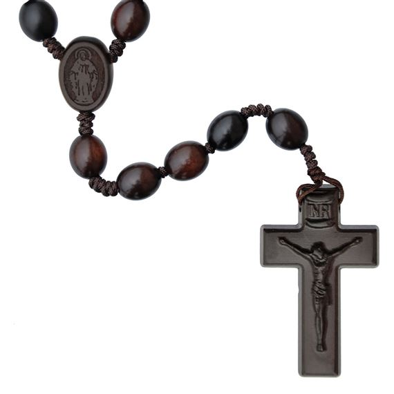 OVAL BEAD JUJUBE WOOD ROSARY