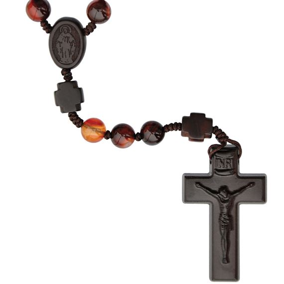 AGATE BEAD AND JUJUBE WOOD ROSARY