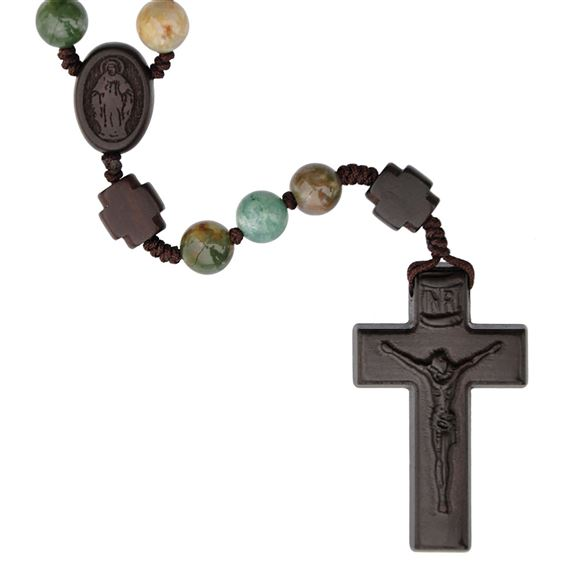 MULTI-COLOR ONYX BEAD AND JUJUBE WOOD ROSARY