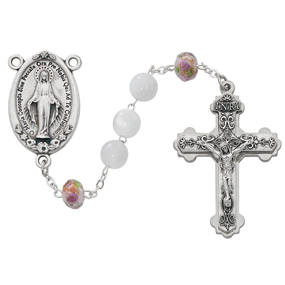LARGE MIRACULOUS MEDAL ROSARY WITH WHITE AND ROSE BEADS