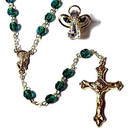BIRTHSTONE ROSARY & PIN SET - MAY (EMERALD)