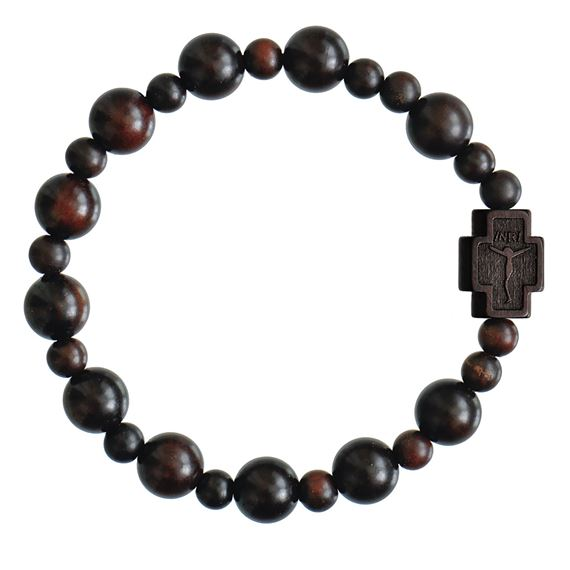 DARK BROWN JUJUBE WOOD ROSARY BRACELET