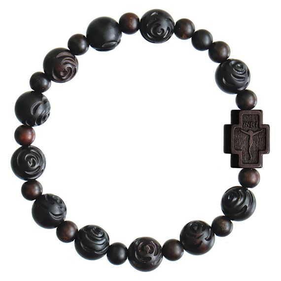 ROSE CARVED JUJUBE WOOD BEAD ROSARY BRACELET