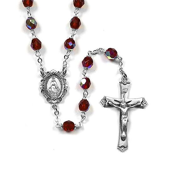 GARNET BIRTHSTONE ROSARY - JANUARY