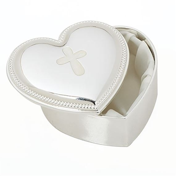HEART SHAPED KEEPSAKE BOX WITH BEADED EDGE